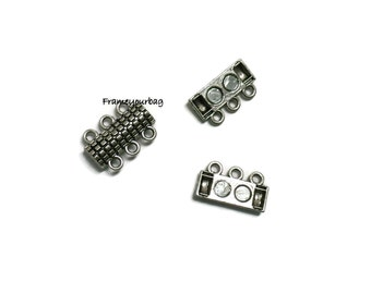 4 Zamak magnetic clasp Antique Silver for Beads. ø 3X2mm-Zk503