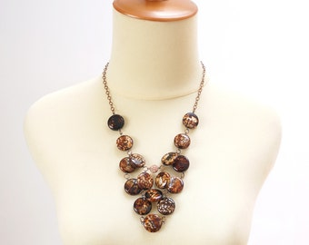 Cocoa Brown Stone Statement Necklace, Bold Fashion Agate Stone Jewelry