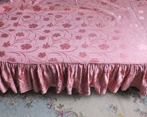 Antique French Brocade Fabric Boudoir Paris Pink Romantique bed or seat cover with flounces Floral pattern Shabby chic Soft Aubusson colors