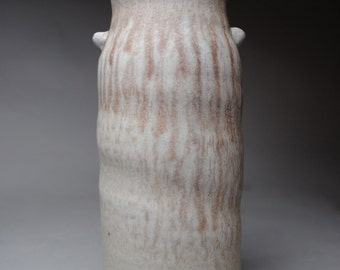 Clay Vase  Soda Fired With Cranberry Drips C44