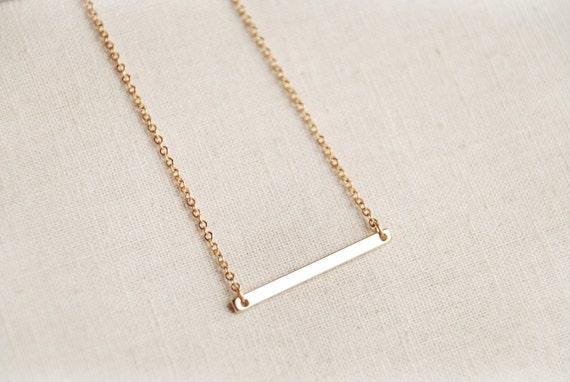 16k gold plated horizontal bar necklace by boutiqueminimaliste. Black Bedroom Furniture Sets. Home Design Ideas