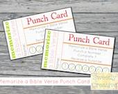 Printable Punch Card Memorize a Bible Verse - INSTANT DOWNLOAD - Printable Digital Files