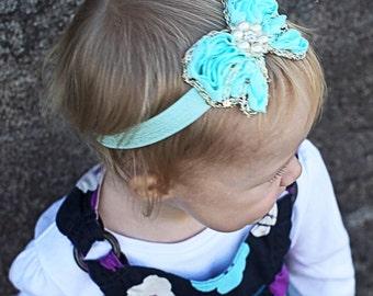 Light Aqua Butterfly Headband, Baby Headband, Infant Headband, Newborn Headband, Toddler Headband, Light Aqua headband