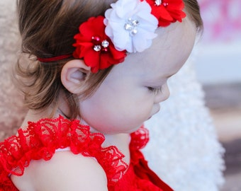 Red and White Headband, Christmas Headband, Baby Headband, Infant Headband, Newborn Headband - Red and White Chiffon and Pearls Flowers