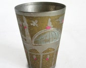 Vintage tumbler ISLAMIC ZAMZAM WELL metal drinking cup. Etched mosque, flowers. Beige tan coating. Holy water drinkware glass, handmade etch