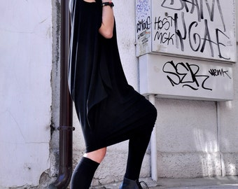 Oversize Black Loose Casual Top / Asymmetric Raglan Long Sleeveless Tunic One Size / Maxi Blouse A02130