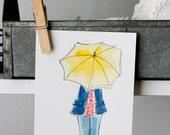 Umbrella girl - Illustrated flat note card
