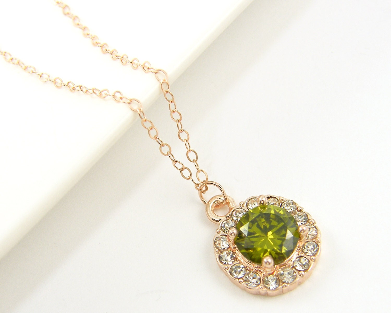 peridot necklace rose gold necklace cz olive green august. Black Bedroom Furniture Sets. Home Design Ideas