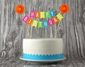 Mini Banner or Cake Bunting, Happy Birthday with Rosette in Neon Colors