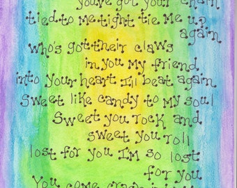 Dave Matthews Band, Crash Into Me, Dave Matthews Original Art, DMB Lyrics, Watercolor, Dave Matthews Band Home Decor, DMB Crash