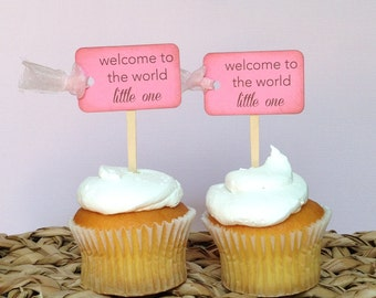 Baby Girl... Vintage Baby Shower (welcome to the world) Cupcake Toppers.