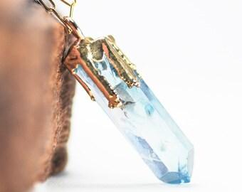 Hokupa'a necklace - aqua aura quartz gold necklace, gold quartz necklace, quartz point necklace, crystal necklace, gold boho necklace, maui