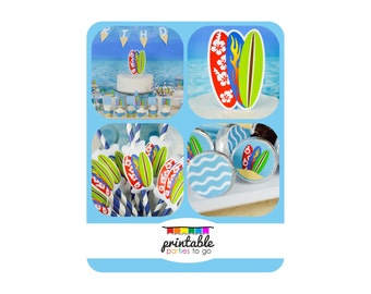 INSTANT DOWNLOAD Surf Party or Beach Party Printable Party Set - IMPORTANT - Please Read Description Thoroughly Before Purchasing