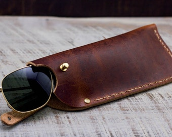 Leather Glasses Case // Horween Leather Rust Dublin + Antique Brass Hardware // Personlized Gift with Custom Monogram