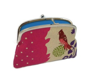 Pink Echino bird coin purse, etsuko double frame wallet, purple, green, perch with turquoise inside