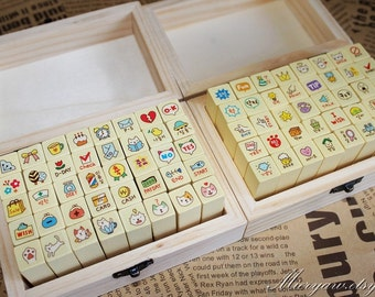 2 Cases Korean Stamp Set - Wood Rubber Stamp - Diary Stamp - Cat Stamp and ToTo Stamp