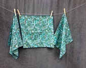 60's Mid Century Napkins - 3 Cotton Napkins Abstract Black, Turquoise and Moss Design