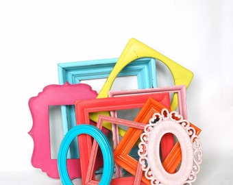 Painted frames 9 wall colorful boho chic gallery decor set includes 9 frames