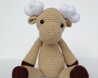 Crochet Moose Stuffed Animal in Tan and Brown