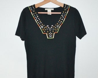 Vintage 80s Shirt Aztec Shirt Southwestern Top Black Shirt with Silver and Copper beading Size Large