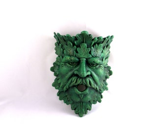 Ceramic Green Man Planter and Bird House Combo Wall Hanging --11 inches, hand painted