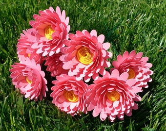 Paper Flower Bouquet - 6 Pink Daisies - Handmade Paper Flowers for Brides, Weddings, Showers, Birthdays, Mother's Day