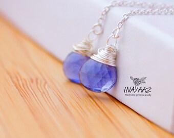 Iolite Gemstone Threader Earrings Water Sapphire Earrings AAA Navy Blue Iolite GemstoneWire Wrapped Sterling silver Jewelry