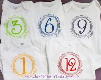 Baby Birthday and Birth Month Onesies Small Set, Monthly Aniversary Photo Prop Memory Book Album Bodysuits First Year Top Shirt Milestone