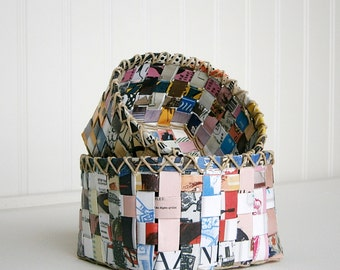 Pair of Nested Paper Baskets, Hand Woven With Recycled Fanzines