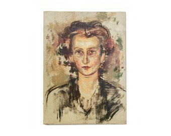 Vintage Female Portrait - Belgium Oil Painting