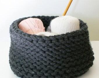 "DIY Knitting PATTERN - Chunky Knit Baskets - 3 styles (approx 11"" diameter by 8"" tall) (homdec013)"