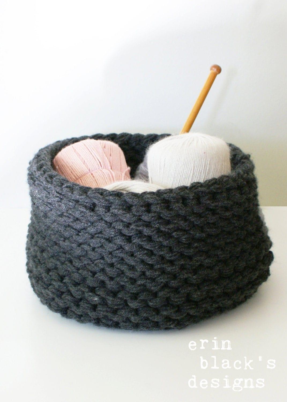 Basket Knitting Pattern : DIY Knitting PATTERN Chunky Knit Baskets 3 styles approx