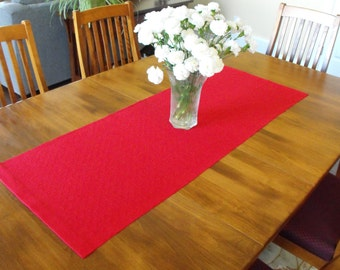 Scarlet Red Table Runner, Handwoven Table Runner, Cotton and Linen Table Runner, Red Runner, Hand Woven Table Runner Scarlet, Summer Runner