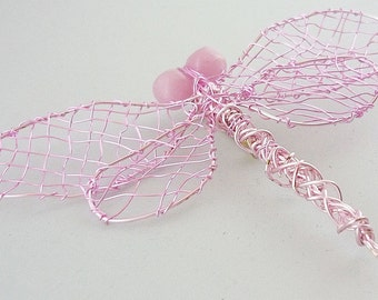 Pink Dragonfly Brooch -- One of a Kind Wire Work Dragonfly