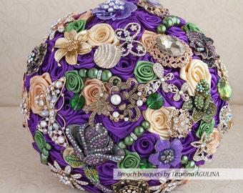 Brooch bouquet. Purple, Green and Gold wedding brooch bouquet, Jeweled Bouquet.