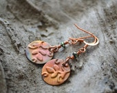 Copper Patina Earrings, Round Earrings, Leaf Earrings, Embossed Metal, Nature Lover, Gift for Gardener, Copper Jewelry
