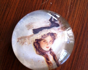 Glass Pin With Victorian Girl