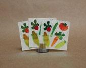 Vintage Sandylion Shiny Veggie Stickers- Set of 3- Vintage Paper Ephemera