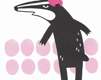 Black badger in a pink beret lino print