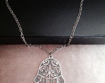 Long Chain Hamsa Hand, Antique Silver Khamsa Necklace, Boho jewelry,Long Necklace, Protection pendant, Sacred symbol, Christmas Sale On,