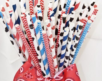 COWBOY 50 Paper Party Straws, Assorted mix of Chevron Stripes, Cow Print, Hearts & Traditional Striped Hew haw Fun Western BBQ