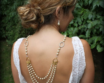 Backdrop Necklace-Pearl Necklace-Back Drop Necklace-Bridal Back Drop Necklace-Wedding Necklace-Backwards Necklace-Ivory Pearl