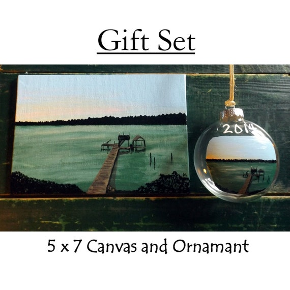 Custom  House Portrait Mini 5 x 7 Canvas AND House Portrait Christmas Ornament Package Deal