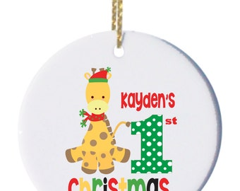Personalized Christmas Ornaments My 1st Christmas with Cute Giraffe
