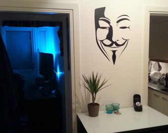 Wall Decal V for Vendetta Wall Decal Anonymous Wall Art Decals Guy Fawkes Anonymous Stickers