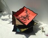 Hanji Trays Plates Tiger Lily Design Square Handmade (Set of 4) - HanjiNaty