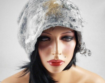Felted Hat Grey Hat Designer Hat wearable art  art deco wool felt nunofelt nuno felt silk eco fiber art