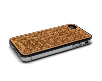 iPhone 4 Case Damask Personalized Custom Name Wood iPhone 4S Case Wood iPhone 4 Case iPhone 4 Case Wood, iPhone 4 Wood Case, iPhone 4S Wood