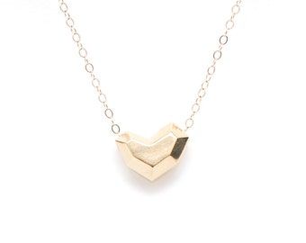 Faceted heart pendant necklace in 14k yellow gold