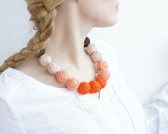 Textile long necklace for women boho rustic brown orange